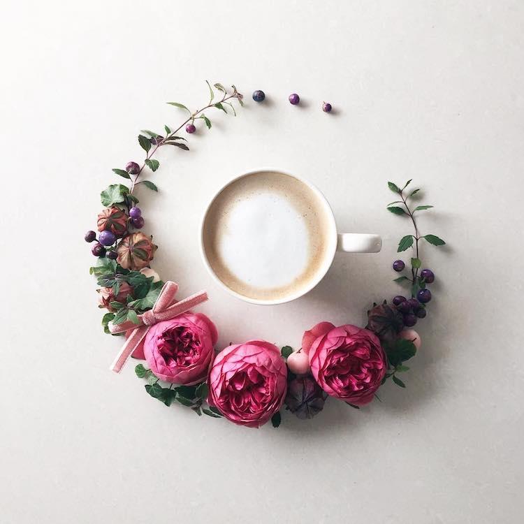 floral coffee art