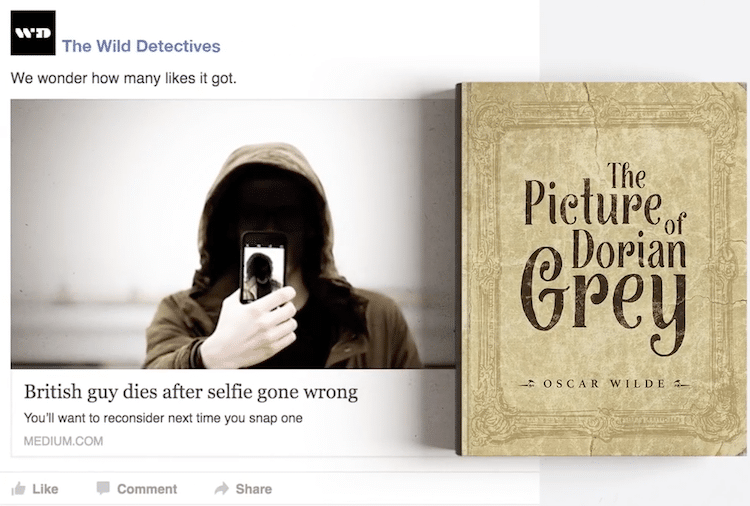 litbaits wild detectives bookstore campaign clever clickbait picture of dorian gray
