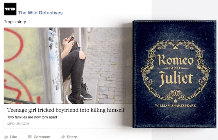 litbaits wild detectives bookstore campaign clever clickbait romeo and juliet