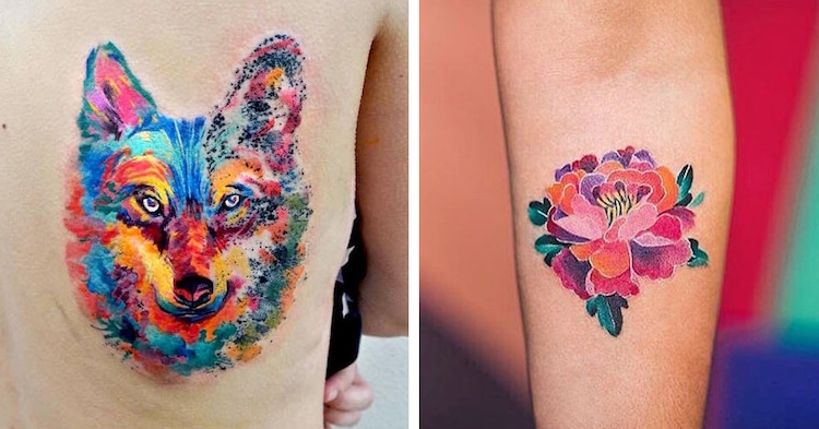 watercolor tattoos body art colorful pretty artistic