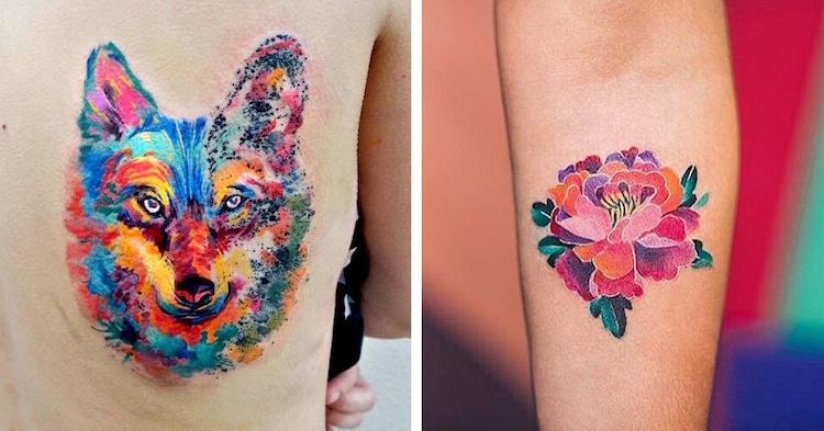 watercolor tattoos body art colorful pretty artistic