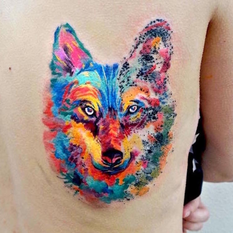 watercolor tattoos wolf body art Ondrash