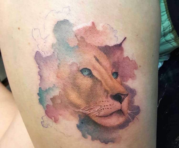 watercolor tattoos artistic pastel lion Hiren
