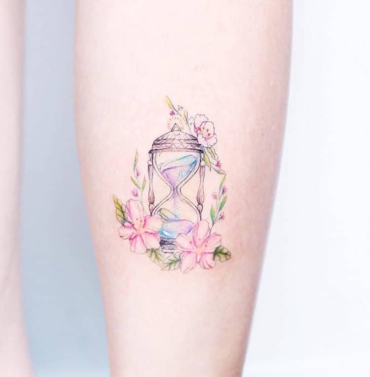 watercolor tattoos hourglass pretty simple delicate mini yau