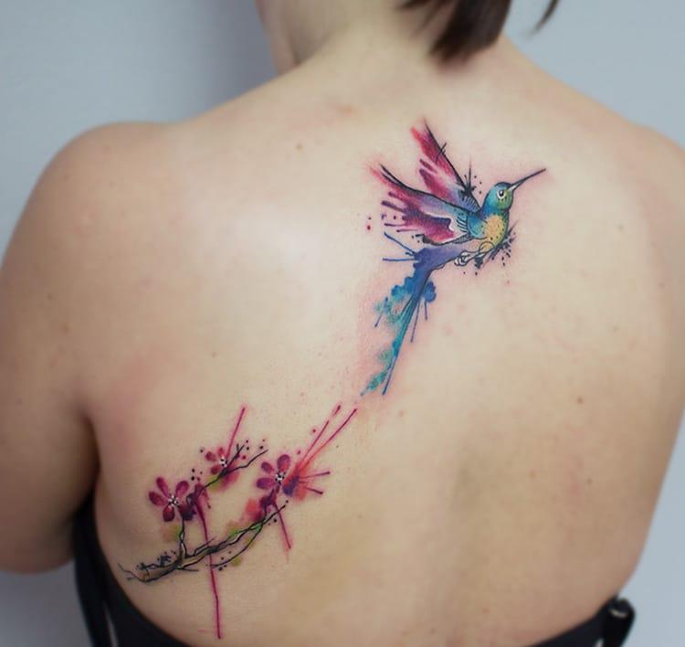 watercolor tattoos bird flower nature art julia dumps