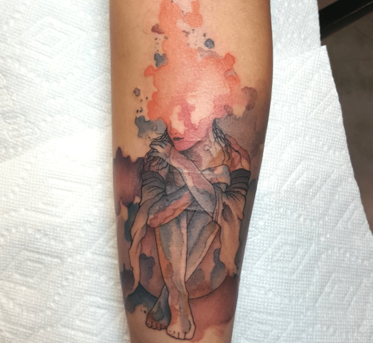 watercolor tattoos figure woman artistic surreal Hiren