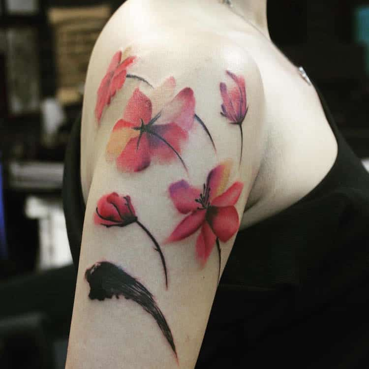 watercolor tattoos poppies flowers art Ricky Fish Tattoo