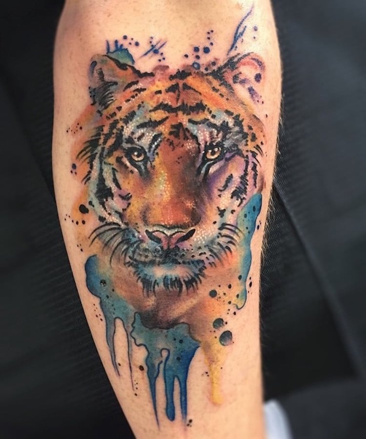watercolor tattoos tiger animals paint pastel Jason Adelinia