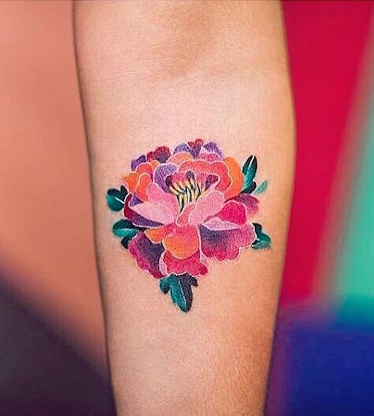 watercolor tattoos flower peony colorful Five Cats Tattoo House