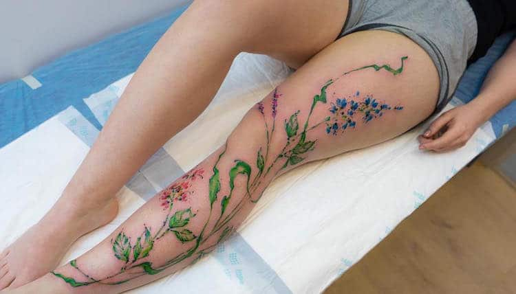 watercolor tattoos pretty flower dainty Alexey Platunov