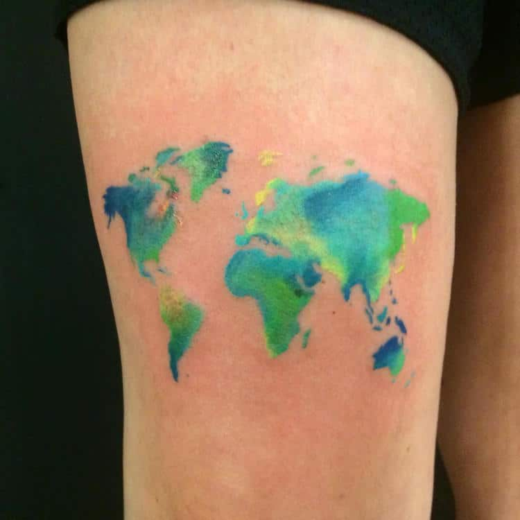 Watercolor tattoos that beautifully transform skin into a canvas watercolor tattoos map earth world darren bishop gumiabroncs Images