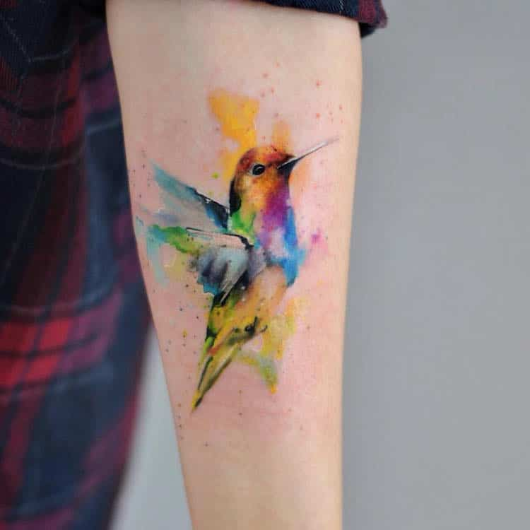 watercolor tattoos hummingbird paint splatter nature art Aleksandra Katsan
