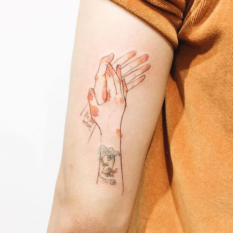 watercolor tattoos pastel clapping hands artistic Tattooist Doy