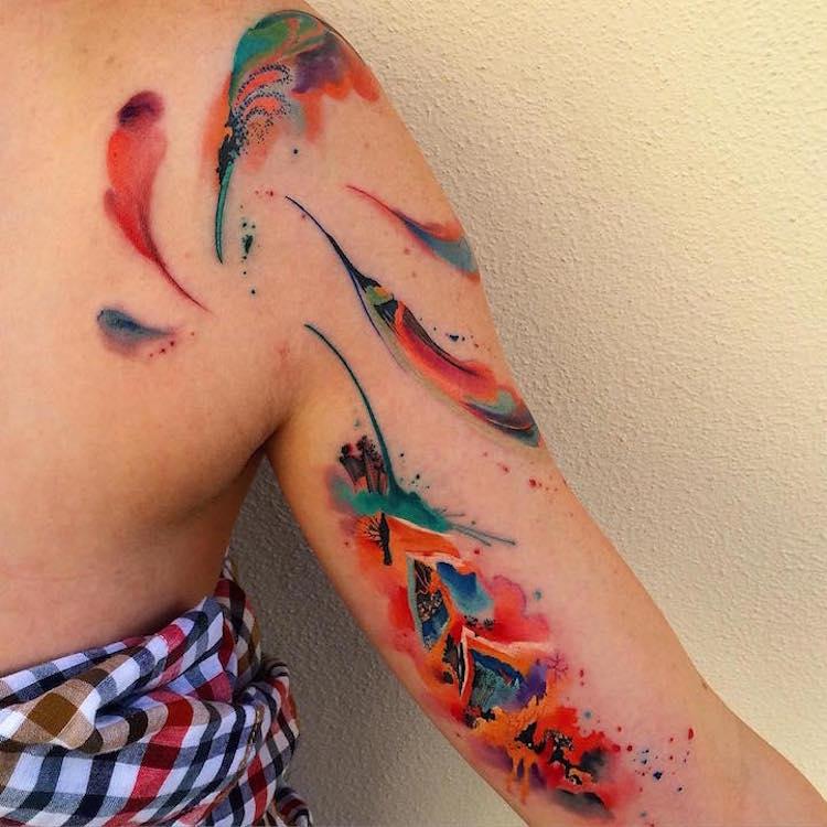 watercolor tattoos abstract body art Ondrash