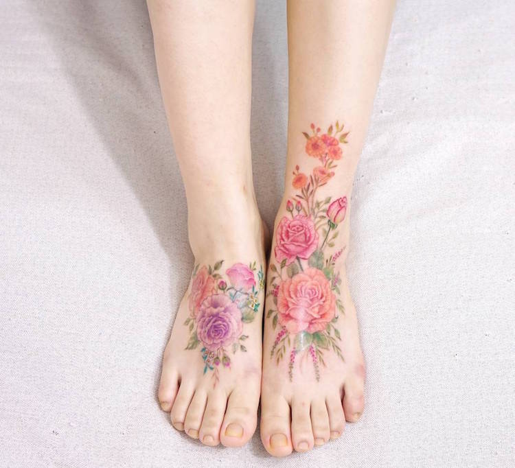 watercolor tattoos pretty flower dainty Aro Tattoo