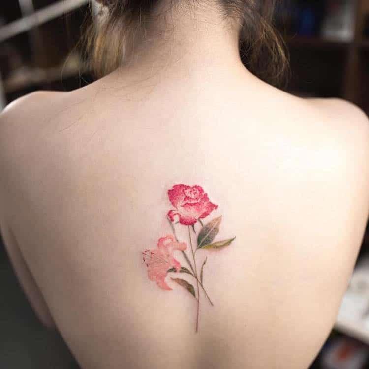watercolor tattoos pretty flower dainty Hongdam