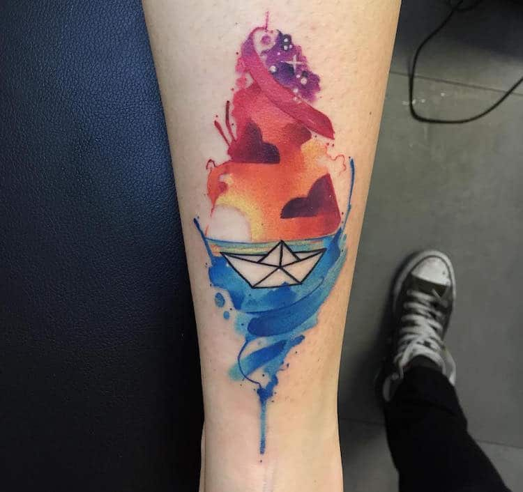 watercolor tattoos origami boat pretty Lello Sannino