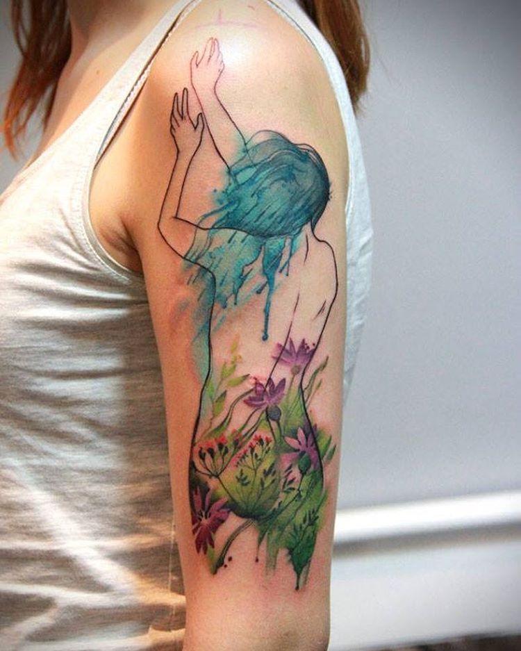 Watercolor Tattoo by Aga Yadou