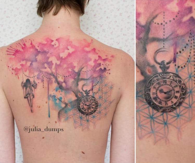 Watercolor Tattoo by Julia Dumps
