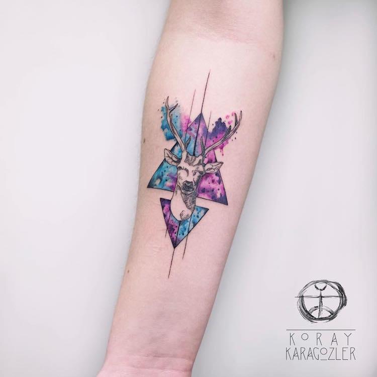 Watercolor Tattoo by Koray Karagözler