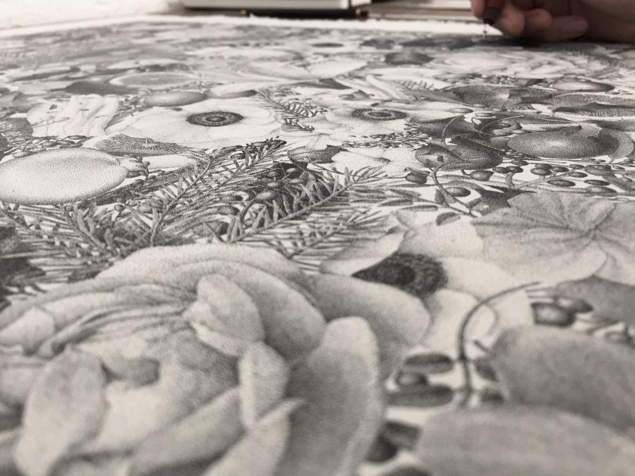 xavier casalta winter pointillism stippling four seasons drawing