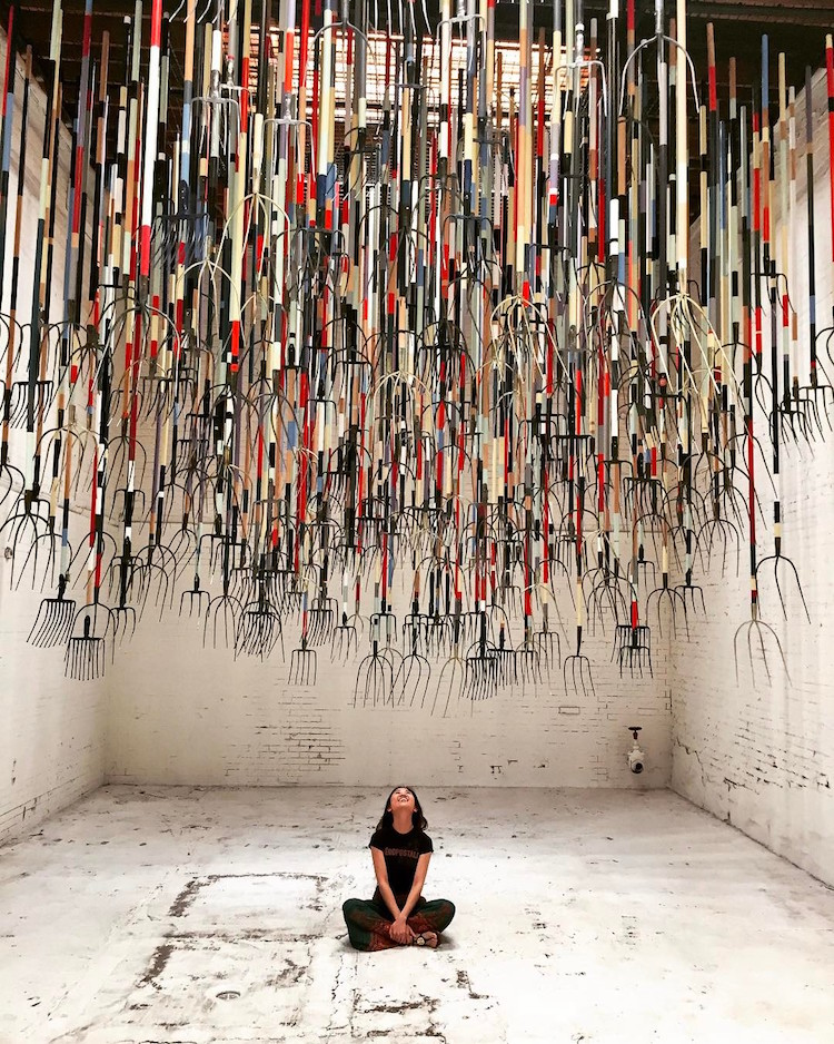 simon birch the crusher pitchfork installation exhibition art