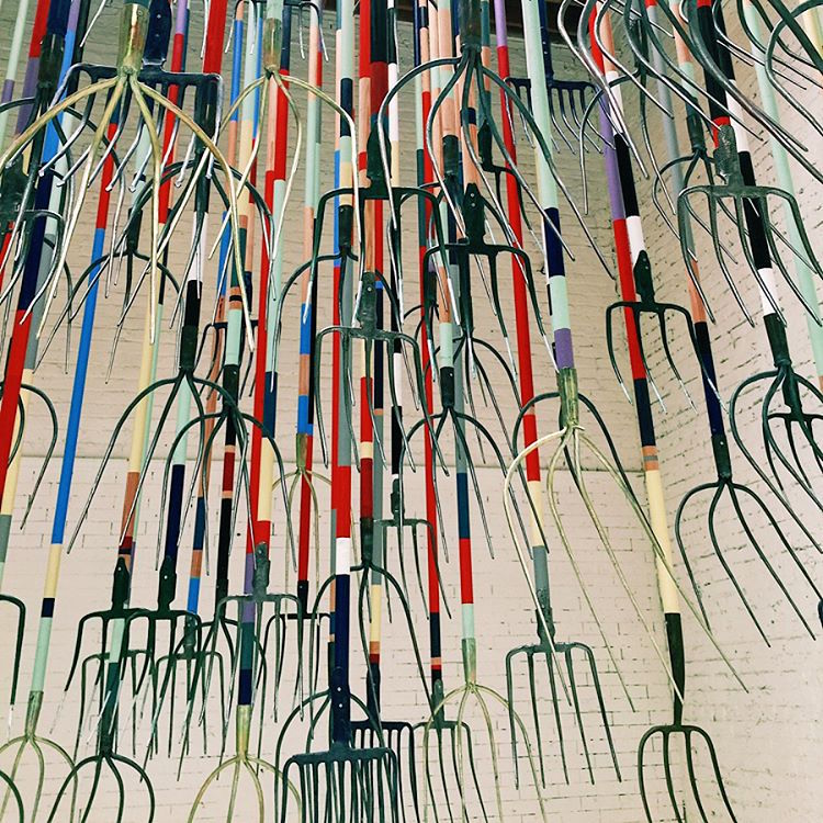 simon birch the crusher pitchfork installation exhibition art