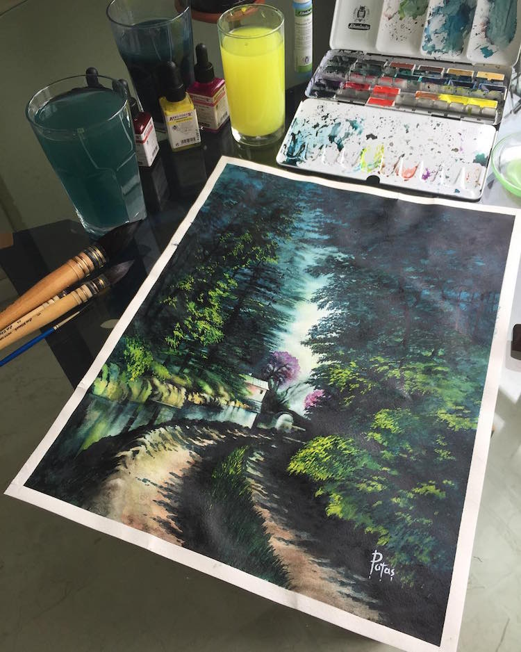 Watercolor Landscapes by Adem Potas