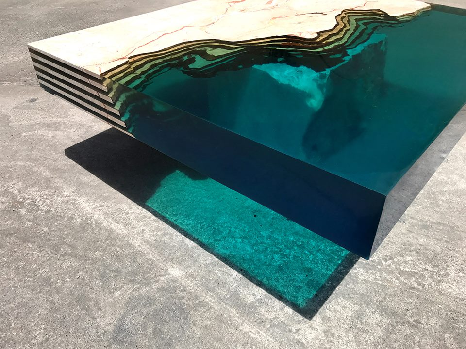 HAMILTON 23 Water Table by Alexandre Chapelin resin furniture