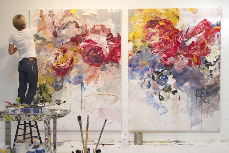 Abstract Fl Paintings By Bobbie Burgers Burst With