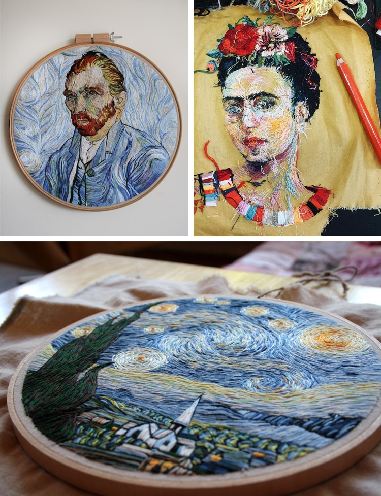 embroidery painting of famous artworks