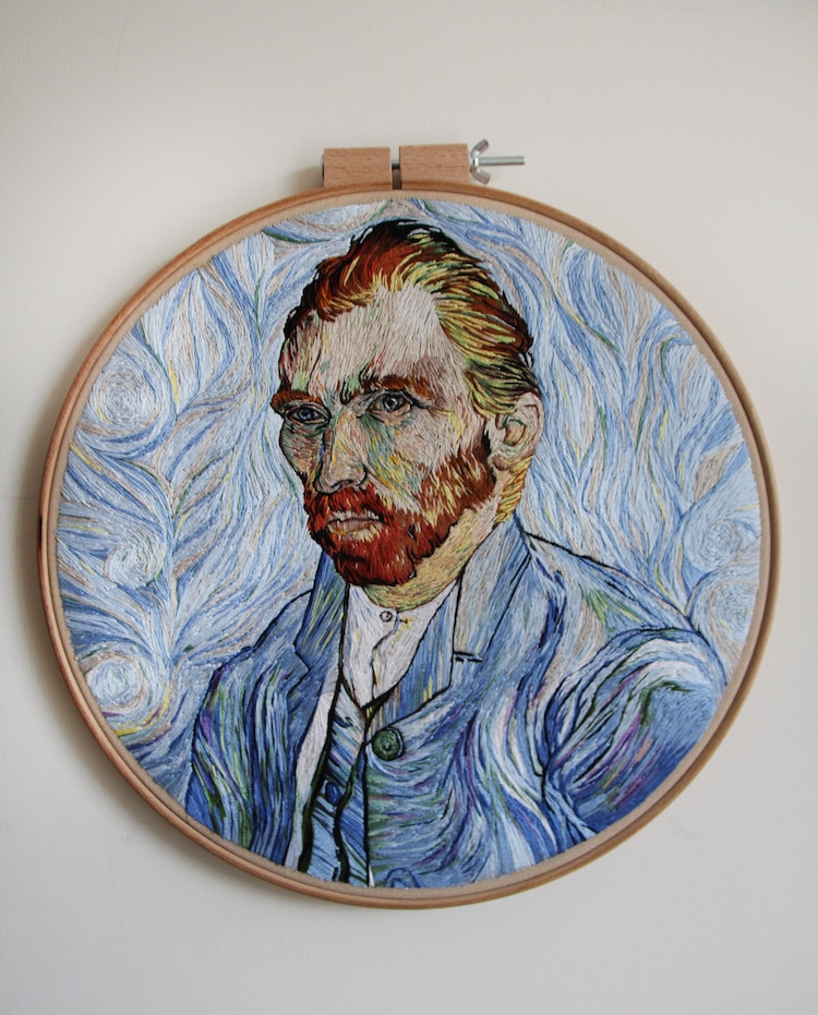 embroidered van gogh portrait