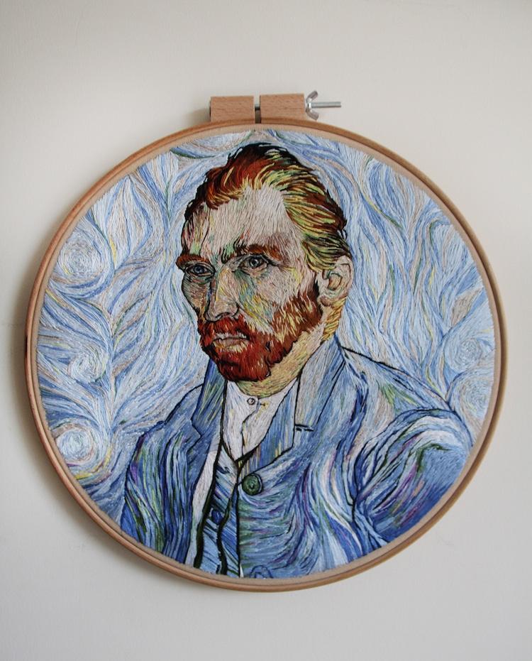 embroidered van gogh portrait