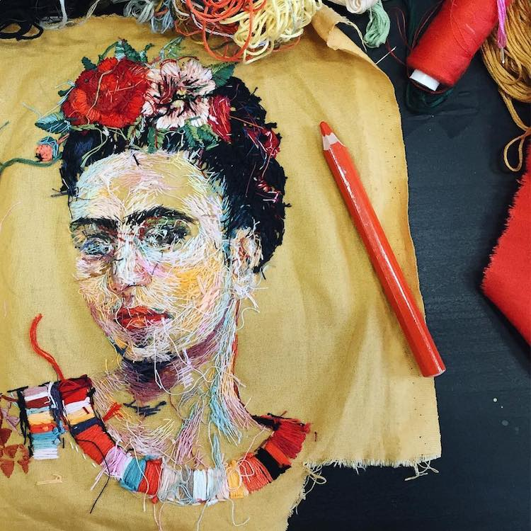 frida khalo embroidery art