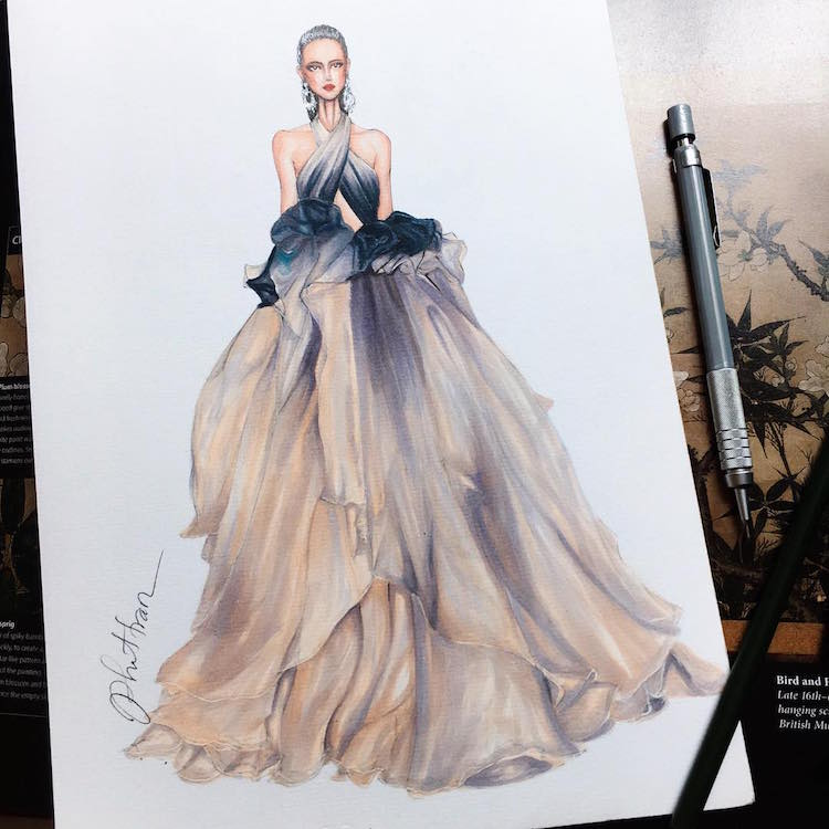 Gown Designs By Eris Tran Showcase Fashion Illustrators Skill