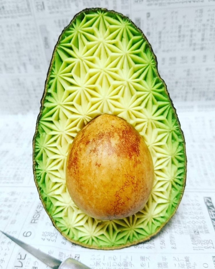 Avocado Carving Fruit Art by Gaku