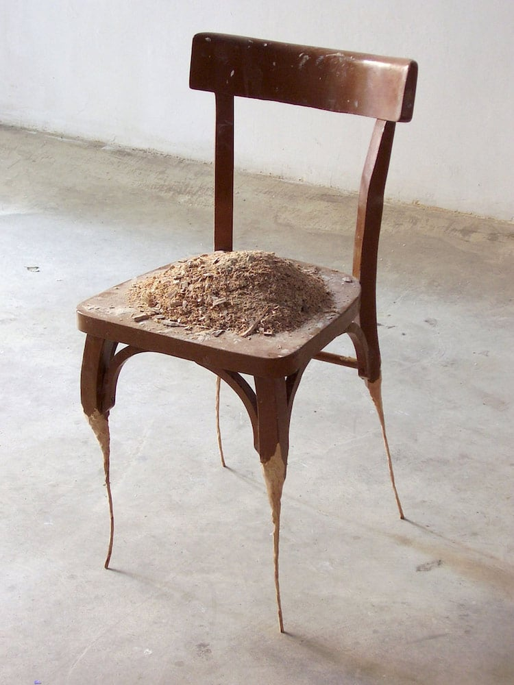 Contemporary sculpture formed from household objects