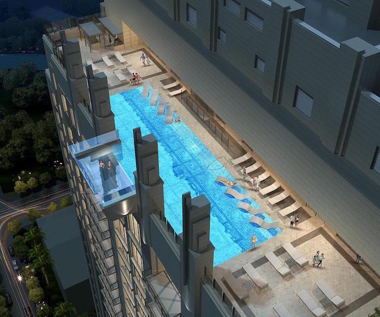market square tower houston sky pool