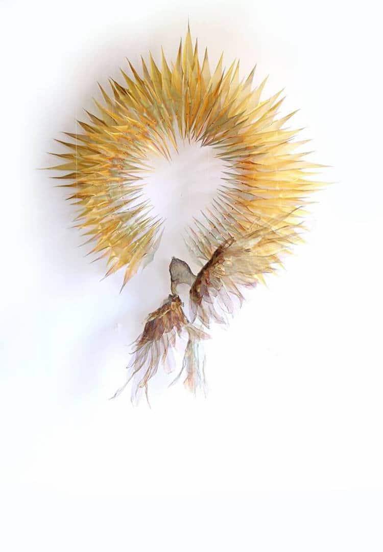 woven metal sculptures michelle mckinney nature art leaves