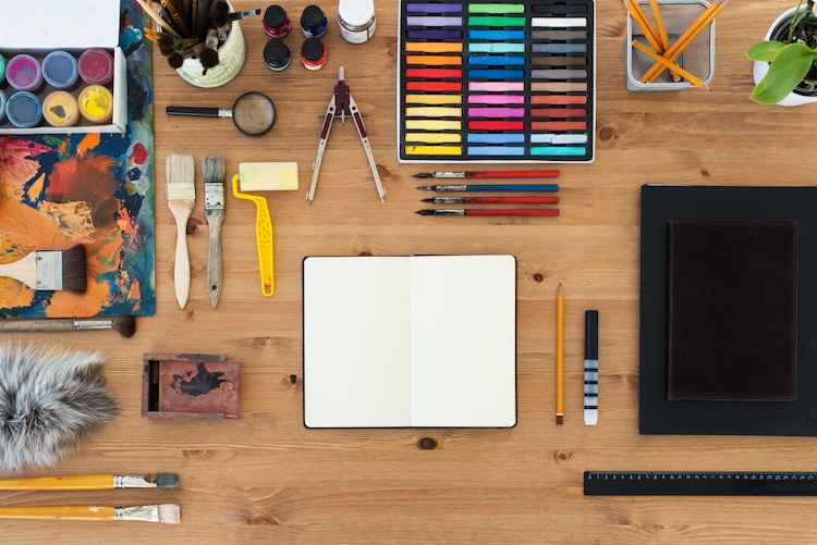 Art Supplies Laid Out on a Table