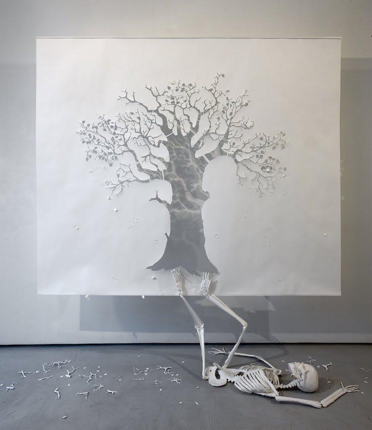 Fall paper art installation by Peter Callesen