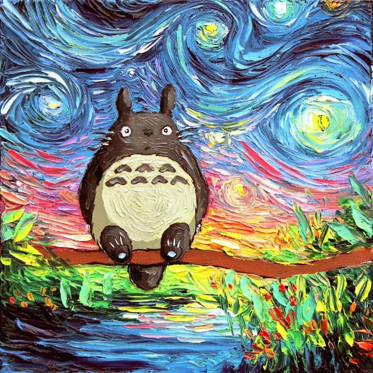 Pop Culture Starry Night Pop Culture Post-Impressionism Cartoon Van Gogh Painting Aja Kusick