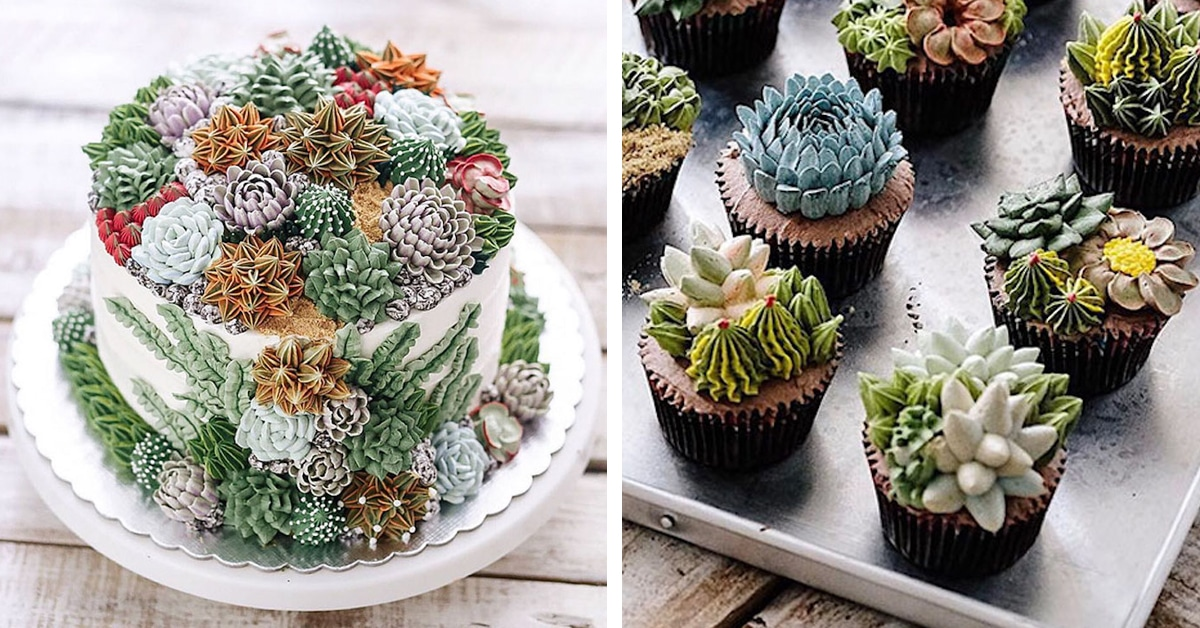Succulent Cakes Covered In Prickly Plants Made From Frosting