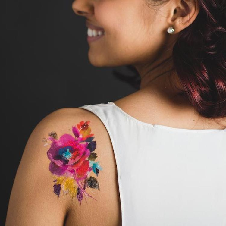 Temporary Watercolor Tattoos Adorn Your Body in Beautiful Blooms