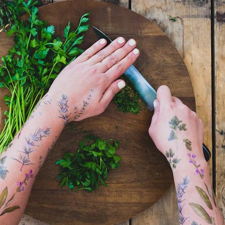 herb-scented temporary tattoos vincent jeannerot tattly herb tattoos scented tattoos