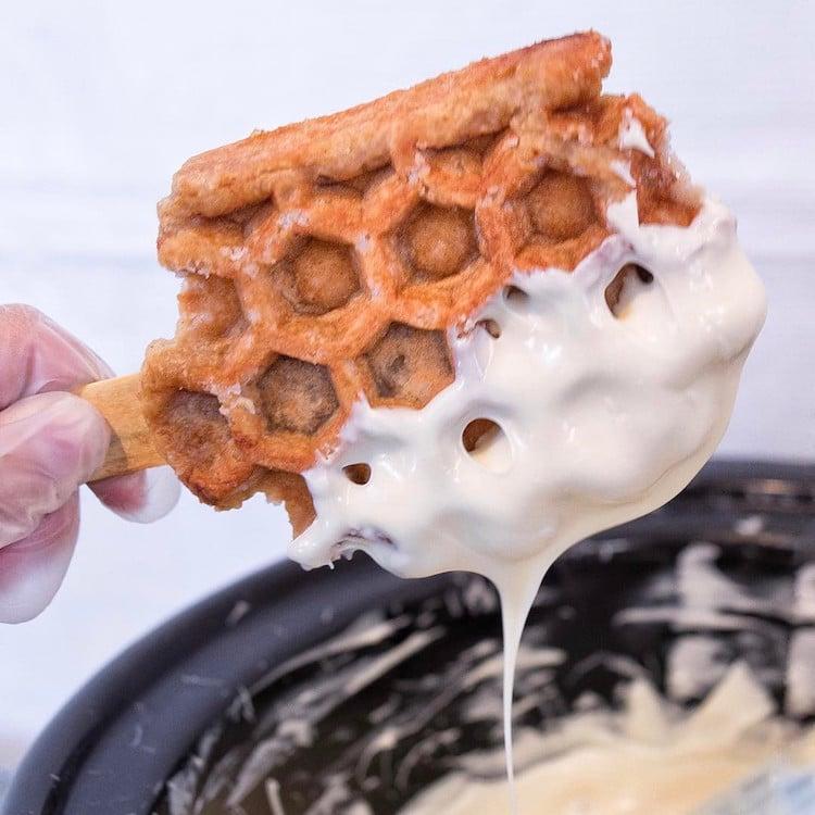 Waffle Pops Sweet Combforts Waffle on a Stick Coachella Waffles Coachella Food Dessert