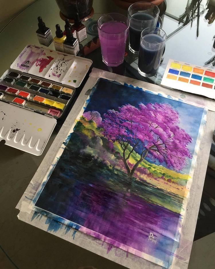 Watercolor Landscape Paintings by Adem Potas