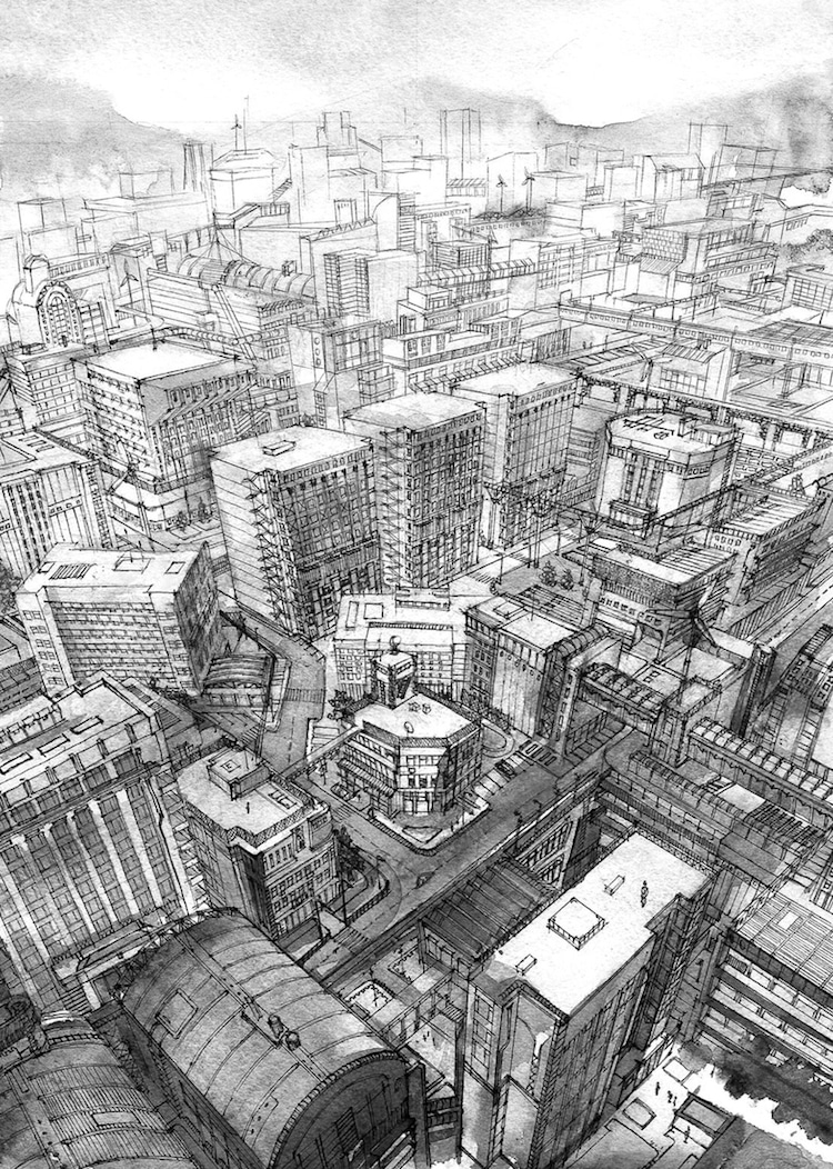 Urban sketches by kiyohiko azuma show incredible for Half life 2 architecture