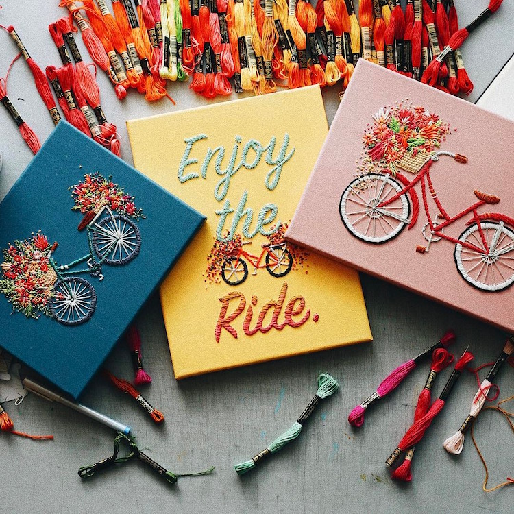 Bicycle Embroidery Flowers Bicycle Art Velo Series TrueFort Walker Boyes