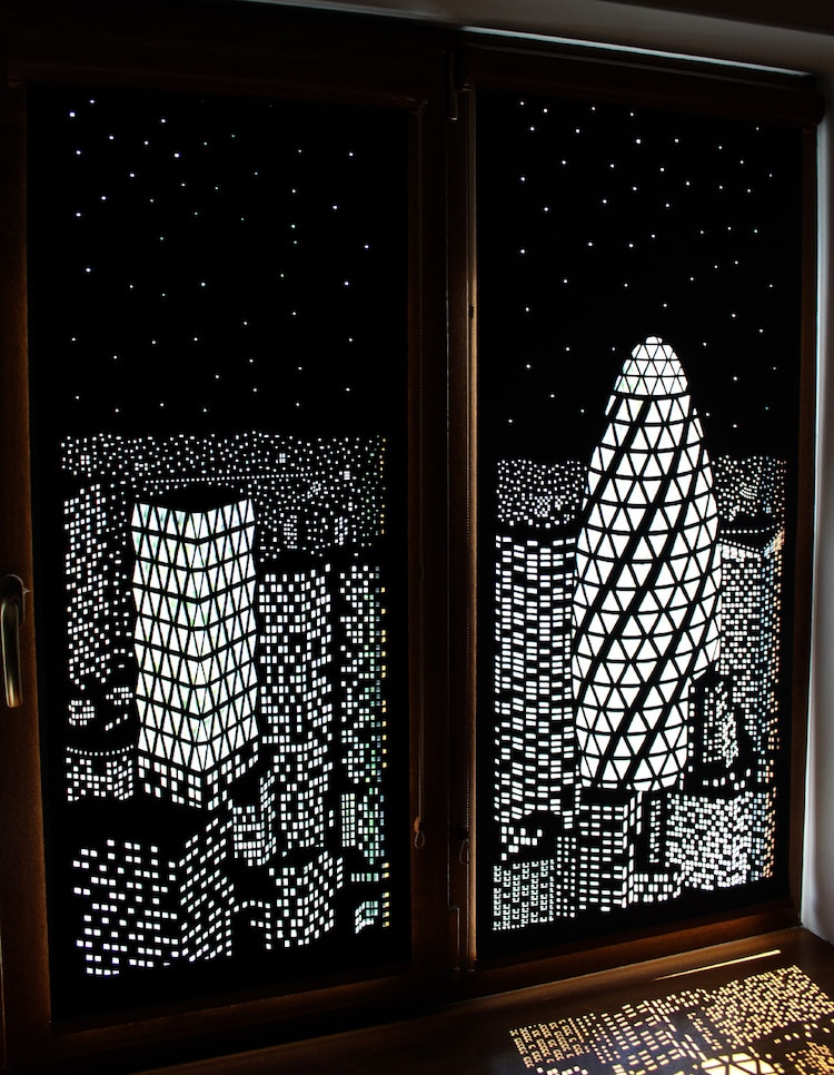 Modern blinds for windows double as spectacular shadow art Blackout curtains city skyline